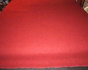Vintage Deep Red Pure Wool Military Issue Blanket in Great Condition