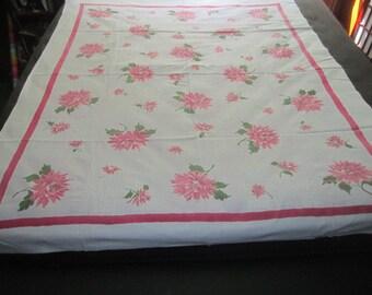Vintage 1950s Startex Cotton 50x62 Raspberry Pink Floral Tablecloth