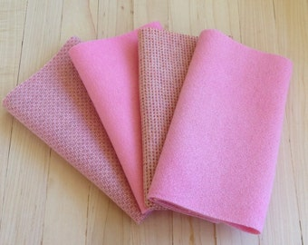 """Hand Dyed Wool Felt, BALLET, Four 6.5"""" x 16"""" pieces in Soft Powder Pink, Perfect for Rug Hooking, Applique' and Crafting"""