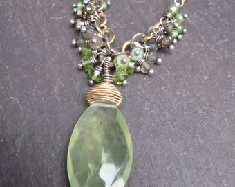 Glowing Green Prehnite Marquis Necklace