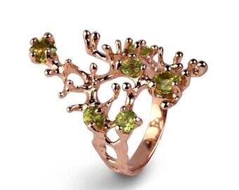 SALE 20% OFF - REEF 14k Rose Gold Ring, Rose Gold Peridot Ring, Green Peridot Ring Gold, Peridot Enagagement Ring, Organic Ring