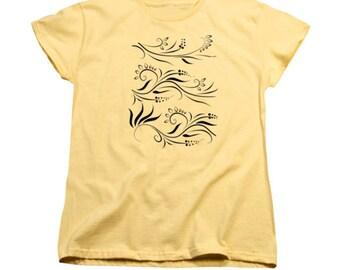 Yellow Flowers T-shirt, Feminine Clothing, Women's T-shirt, Digital Design, Vector Graphics, Floral Art, Black And Yellow Clothing