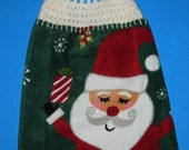Crochet top towel,  Santa double towel,  Christmas hanging kitchen towel, dish towel