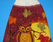 Owl hanging kitchen towel,  double crochet top dish towel