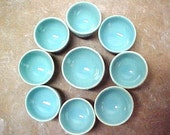 Handmade Pottery Miniature Bowls Glazed in Aqua Turquoise Custom Order for M.