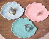 Pottery Dish for Rings, Small Cloud Shape, Pink Blue, Turquoise, Aqua, Bridesmaids Gifts