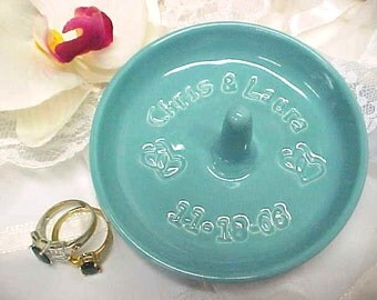 Personalized Wedding Ring Holder | Engraved Ring Dish Bridal Shower Gift | Made to Order Pottery Ring Bowl | Custom Name Date Ring Dish