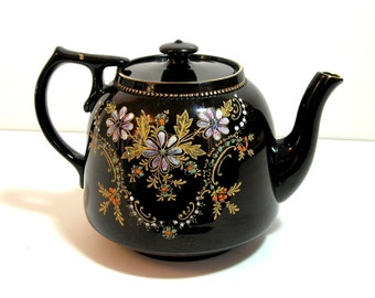 English Pottery Teapot, Price Bros., Floral Decorated Redware, Made In England