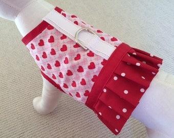 Argyle Hearts With Polka Dot Ruffle Dog Harness Vest