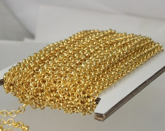 Gold Plated Rolo Chain bulk, 32 ft spool of ROLO cable chain - 3.8mm Unsoldered Links - Necklace Bracelet Wholesale Bulk Jewerly Chain