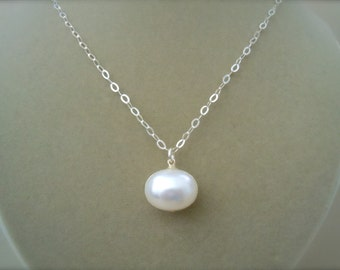 Eliza -- Large Mabe Pearl Drop and Sterling Silver Necklace