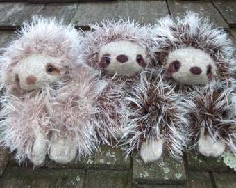 Sloth plush toy, hand knit and felted sloth stuffed animal, sloth toy, amigurumi sloth, stuffed sloth doll, made to order