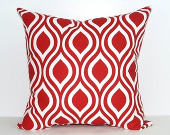 Nicole Lipstick Red and White Ogee Decorative Throw Pillow Free Shipping