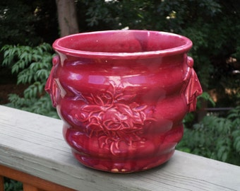 McCoy Pottery leaves and berry handle burgundy ring Jardiniere embossed floral flower pot bowl