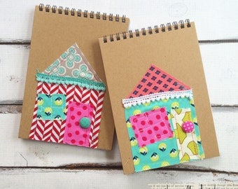 Fabric house notebook - Happy Home whimsical house notebook - Fabric journal notebook - Travel Journal - Notebook - Kids Journal notebook