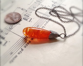 Glass Pendulum Necklace - Swirly Tomato Carrot - by Bullseyebeads - READY TO SHIP