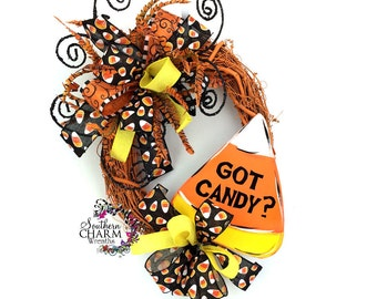 Halloween Got Candy Wreath, Candy Corn Wreath, Halloween Wreathes, Candy Corn Decor, Halloween Wreath for Front Door