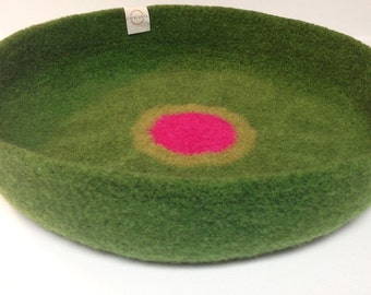Modern Cat Bed Knit Crochet Wool Handmade Felted Pet Bed in Oregano Green with Light Green and Hot Pink Circles