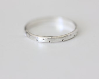 Sterling Silver Stacking Ring - Shimmer Texture Ring - Dotted Silver Ring - Simple Stacking Ring - Mixed Metal Stacking Ring - Unique Ring