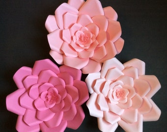 "Three large 3D 9"" Paper Flowers Shades of Pink, Baby or Bridal Shower, Wedding, Party, Wall decor"
