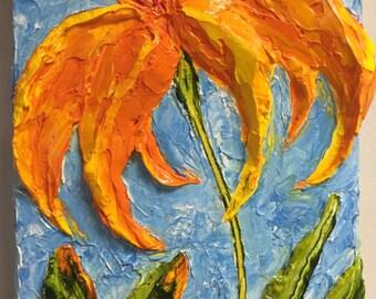 Day lilies Orange 8x16 Original Impasto Oil Painting by Paris Wyatt Llanso