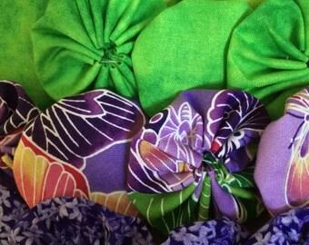 Fabric yoyo Butterfly purple and green 16 pieces, sufflolk Yo flower  Scrapbook Embellishment   GARLAND decoration