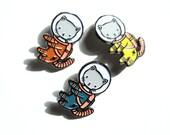 Space Kitty Trio - set of three enamel pins
