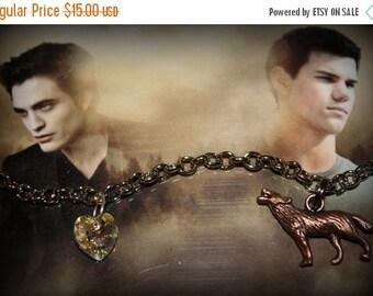SALE Twilight Saga Inspired Bella Edward Jacob Themed Charm Bracelet