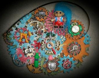 "Steampunk Clock - Wall Clock, Desk Clock, Vintage Gumball Toy Prize Gears Theme, titled, ""Cracker Jack Timeout Surprise "" - EK Original #002"