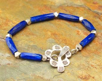 Lapis Lazuli Thai Hill Tribe Silver Bracelet - Cheyenne