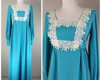 Vintage 1960s blue dress white lace polyester bib maxi dress