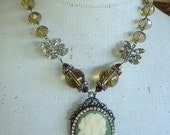 "Vintage Handmade Statement One of a Kind Porcelain Cameo Pendant Necklace 19"" Long"