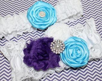 Lace Wedding Garter, Purple and Turquoise Garter, Purple and Teal Wedding,  White Lace Garter, Bridal Garter Set, Shabby Flowers, Custom