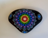 Yoga gift for teacher-boho dot art-energy healing-mandala stone-painted rock-yoga meditation-ooak 3D polka dot art-rainbow lace-pointillism