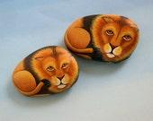 Unique ooak 3D art object-lion-fine art painting-painted pet rock-cat-paperweight-desk decor-king of jungle-spring terrarium animal-Easter