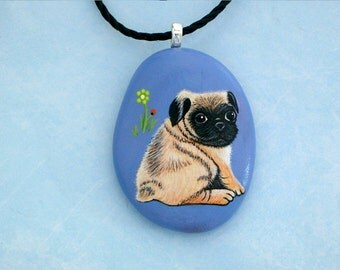 Pug dog-ooak pet dog jewelry under 50-Pug memorial stone-stone pendant necklace-pets pet lovers gift-dog sitter dog walker gift-painted rock