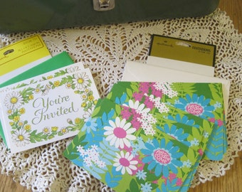 Ten Cards in Two Styles Vintage Unused Floral Hallmark Invitations with Envelopes