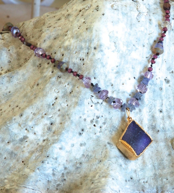 Purple Druzy Necklace