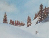 snow winter landscape oil painting  small format art