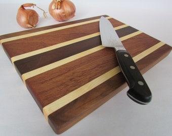 Beautiful RECLAIMED Hardwoods Small Cutting Board Black Walnut, Maple and Mahogany