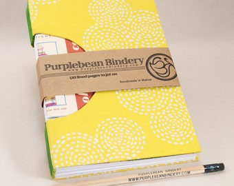 Journal, Notebook, Sketchbook or Guestbook, Unique and Hand-bound with a Bright Yellow Rigid Fabric Cover and Vintage Canning Adverts