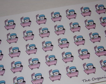 Pearl the Penguin Bathtub Stickers for your Erin Condren Life Planner