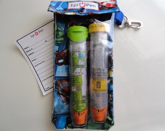 Avengers EpiPen Pouch 4x8 Holds 2 Adult or Jr. Allergy Injector Pens w/ Clear Pocket and Clip Includes Medical ID Card