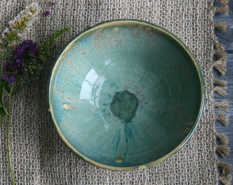 Rustic Green Ceramic Serving Bowl with Dripping Earthy Glazes Made in the USA Ready to Ship