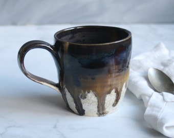 Stoneware Coffee Mug in Dripping Earthy Colors Handmade Pottery Made in USA Ready to Ship