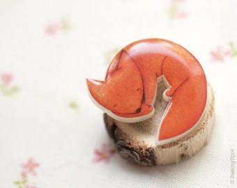 Fox brooch - Cute animal brooch - Orange brooch - Cute brooch - Cute pin - Autumn jewelry - Animal jewelry (BH010)