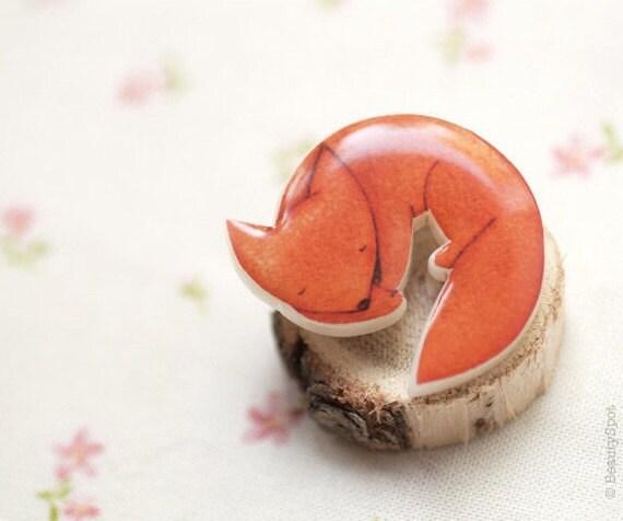 Fox brooch - Cute animal brooch - Orange brooch - Cute brooch - Cute pin - Autumn jewelry - Animal jewelry (BH010)