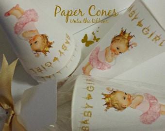 Paper Cones Baby Girl Gold Crown on White - Standard Size (16-count) NEW