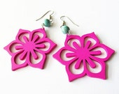 Pink Wooden Flower and Turquoise Earrings