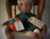 Primitive Folk Art Grungy Simple Raggedy Ann Doll Handmade